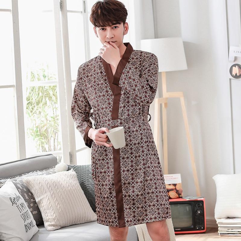 Rayon Sleepwear Summer New Robe Print Floral Nightwear Casual Home Clothes Men Kimono Bathrobe Gown Negligee Pajamas One Size