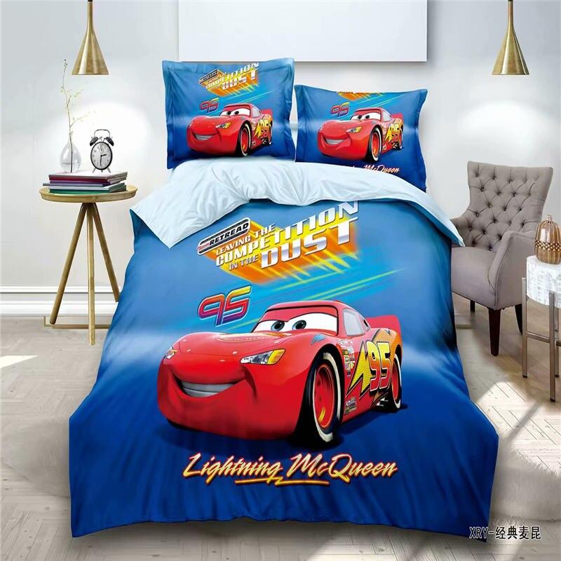 Lightning McQueen Car Bedding Set For Kids Bedroom Decor Twin Quilt Duvet Cover Set Single Bed Sheet Boys Home Children's Linen