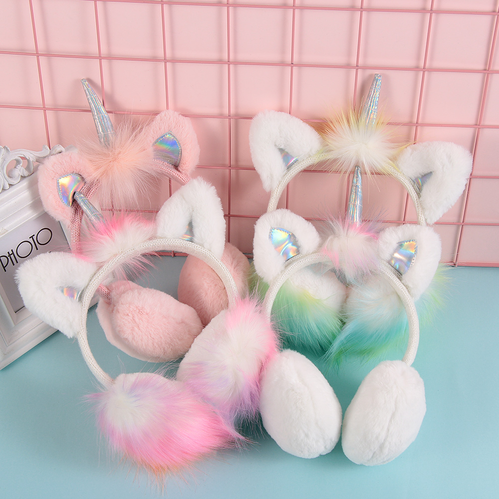 New Lovely Winter Ear Muffs Ear Warmer Thicken Plush Unicorn Earmuffs Fluffy Sequin Ear Cover Cute Gifts for Cold Weather
