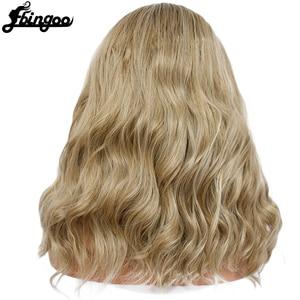 Image 3 - Ebingoo racines sombres Ombre Blonde haute température fibre moyen corps vague Bob perruques synthétique dentelle avant perruque pour les femmes