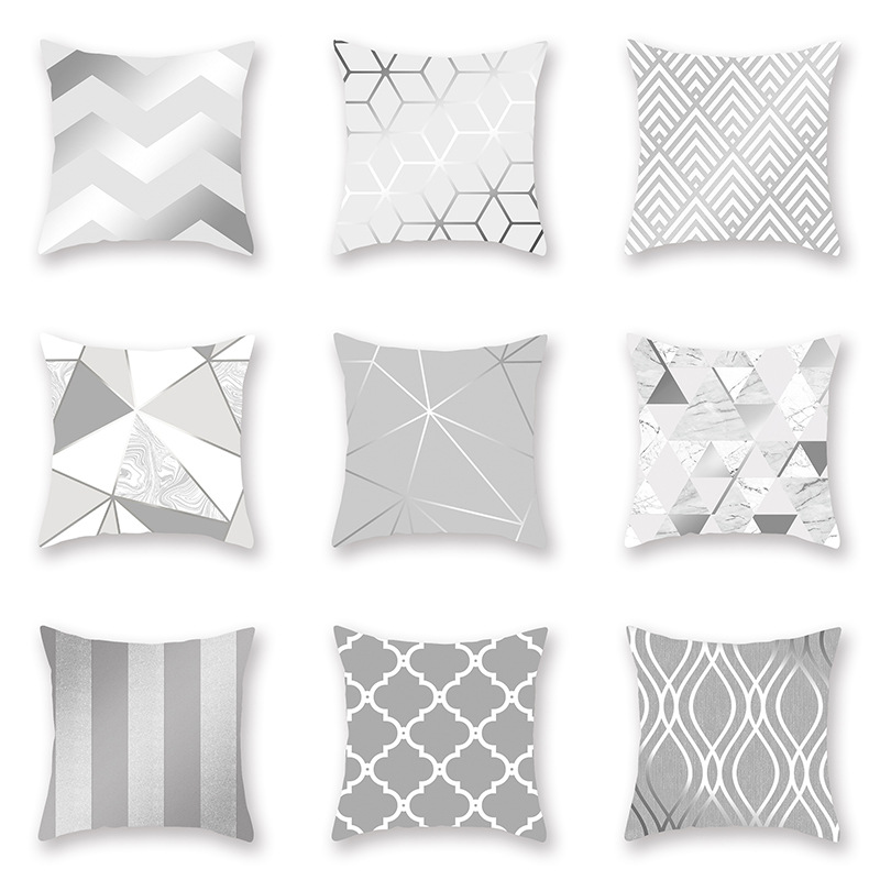 Polyester Fiber Silver Grey Geometry Pillow Cover Sofa Cushion Home Decorative Pillows Cover