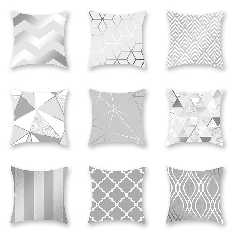 Polyester Fiber Silver Grey Geometry Pillow Cover Sofa Cushion Home Decorative Pillows Cover