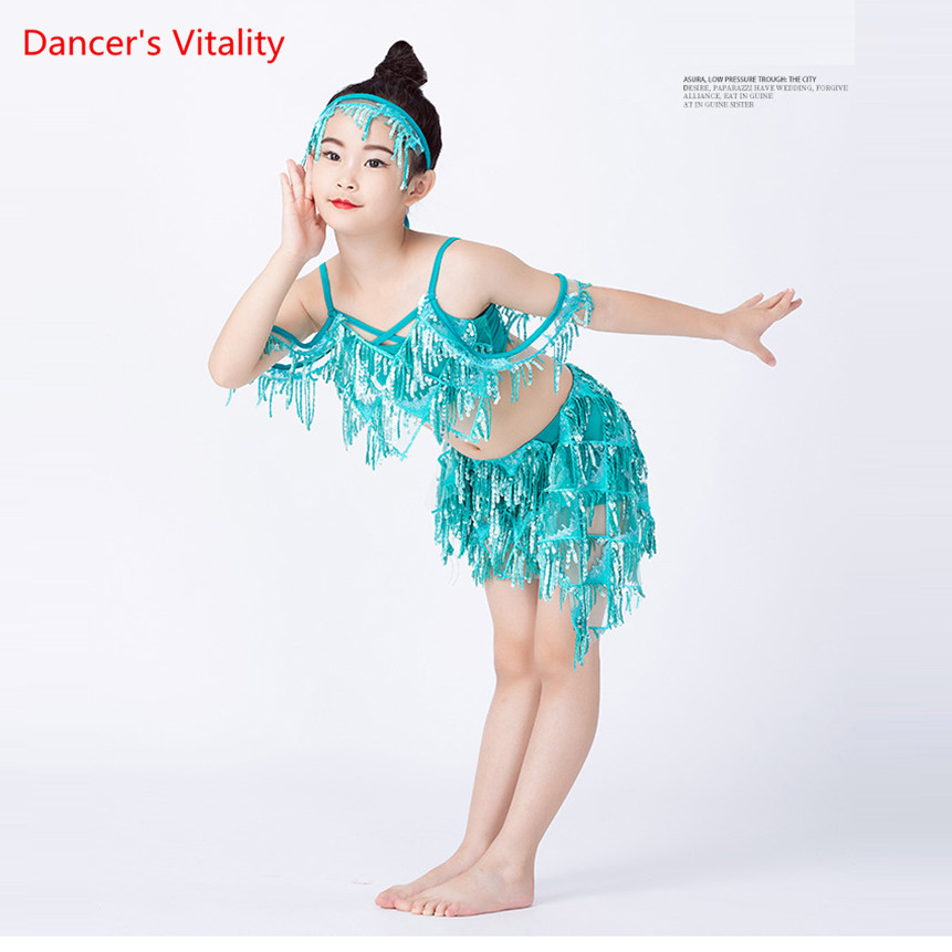 New Kids Belly Dance Sequin Wear Professional Girl Oriental Dance Show Outfit 3 Piece Hair Decoration Blouse Tassel Skirt