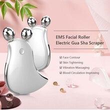 EMS Electric Guasha skrobak mikroprądowy masażer do twarzy roler do twarzy konturowanie i urządzenie podnoszące skrobanie narzędzie do pielęgnacji skóry ciepło USB