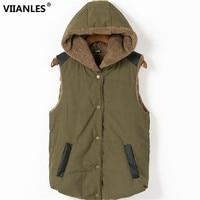 VIIANLES Warm Cashmere Vest moda cappotto invernale lana Casual senza maniche gilet di cotone spesso giacca da donna con cappuccio