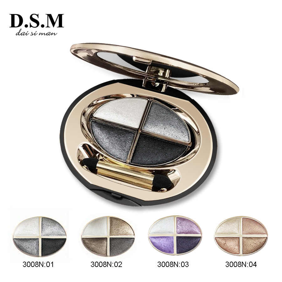 D.s.m Profesional Mineralize Eye Shadow 4 Warna Tahan Air Eyeshadow Makeup Logam Bercahaya Sempurna Warna Eyeshadow Palet