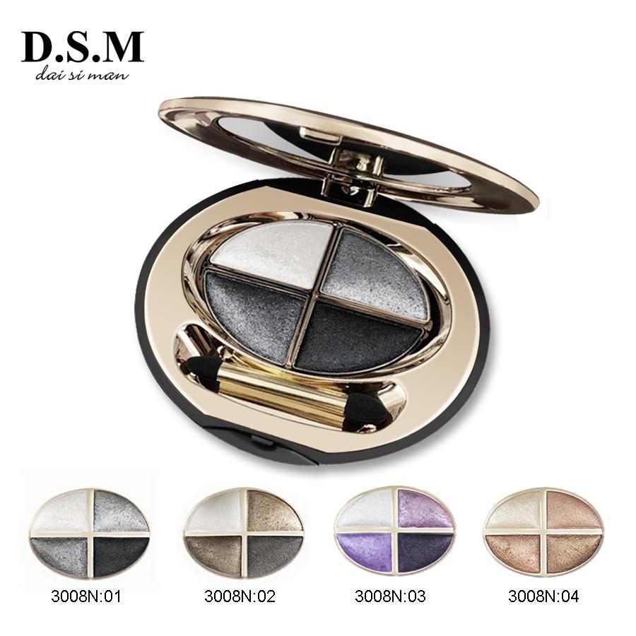 D.S.M Professional Mineralize Eye Shadow 4 Colors Waterproof Eyeshadow Makeup Metallic Luminous Perfect Shades Eyeshadow Palette