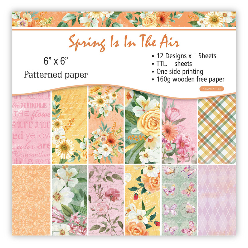 "ZFPARTY 12pcs 6"" Single-side Printed Spring Flower Pattern Creative Papercraft Art Paper Handmade Scrapbooking Kit Set Book"