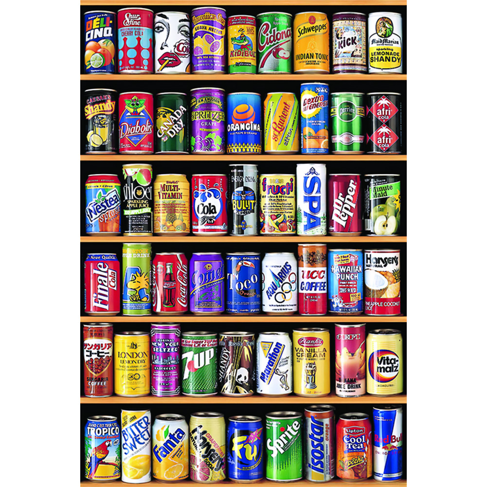 75 X 50cm 1000 Pieces Paper Jigsaw Puzzle Soda Water Can Assembling Picture Children Adults Toys Dream Land Education Fun Games