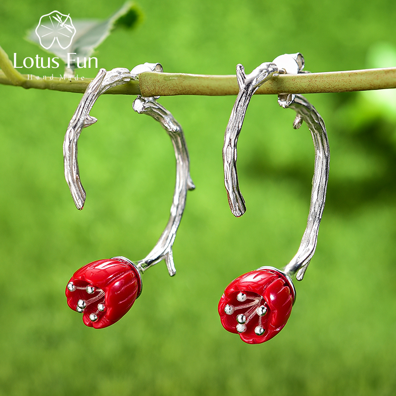 Lotus Fun Real 925 Sterling Silver Red Coral Handmade Designer Fine Jewelry Delicate Carved Flower Drop Earrings for Women Gift