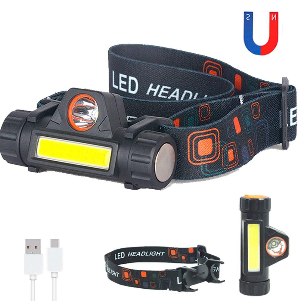 200LM Dual Bulb Head Lamp Mini Flashlight ,COB LED Work Light Inspection Lamp,1200mAh USB Rechargeable Spotlight Floodlight