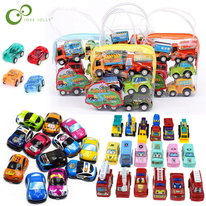 6pcs/12pcs Pull Back Car Toys Mobile Machinery Shop Construction Vehicle Fire Truck Taxi Model Baby Mini Cars Children Gifts ZXH