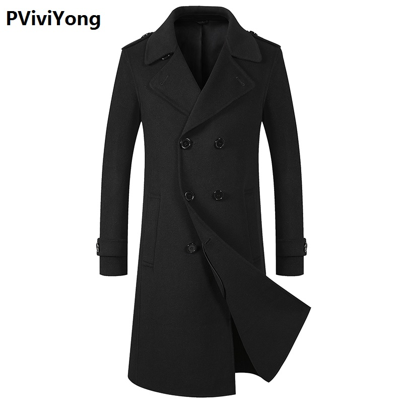 PViviYong 2019 New Arrival Autumn&winter High Quality Wool Trench Coat Men,men's  Wool Double Breasted Double Sided Turn-down Collar Jackets Men  8098