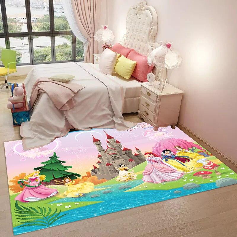 3D Cartoon Princess Living Room Carpet Rectangle Kids Rug Bedroom Bedside Bed Rug Childrenroom Princess Carpet Mat Baby Playmat