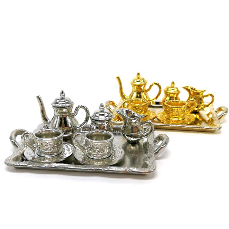 10Pcs/set Doll House Miniature Metal Tea Doll House Furniture Miniature Dining Ware Toy Teapot Cup Plate