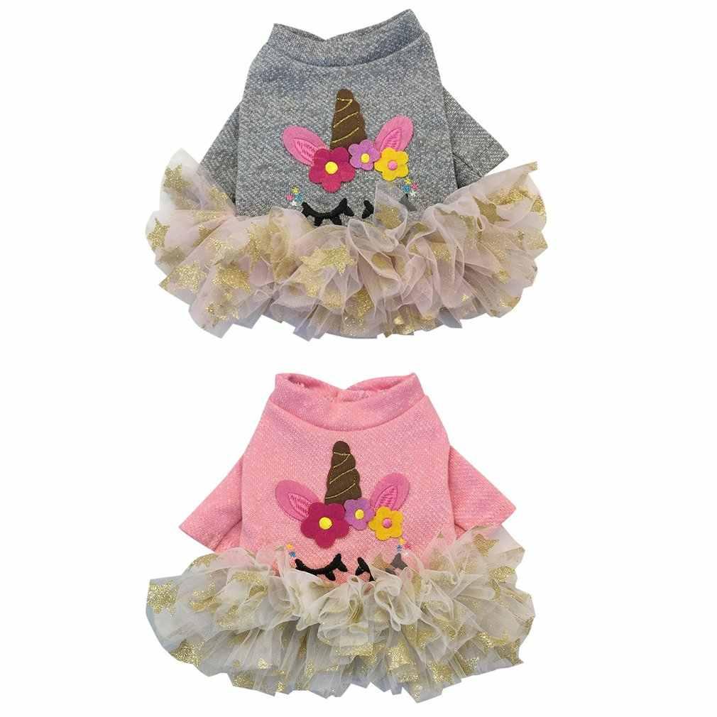 Одежда для собак с единорогом и звездами; осенне-зимняя одежда для собак и щенков; юбка; одежда с двумя ногами; теплая удобная одежда