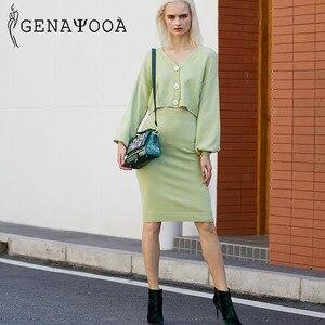 Image 5 - Genayooa Conjunto de dos piezas de punto para mujer, conjunto de 2 piezas, suéter, traje Vintage de manga larga, cárdigan, Falda Midi, 2020