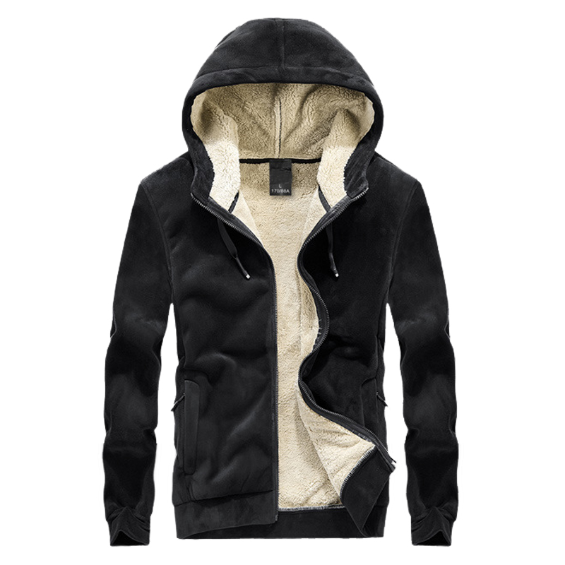 2020 New Fashiong Winter Fleece Hoodie Sweatshirt Mens Thick Warm Coat Male Solid Color Jacket Men Brand Clothing 8XL