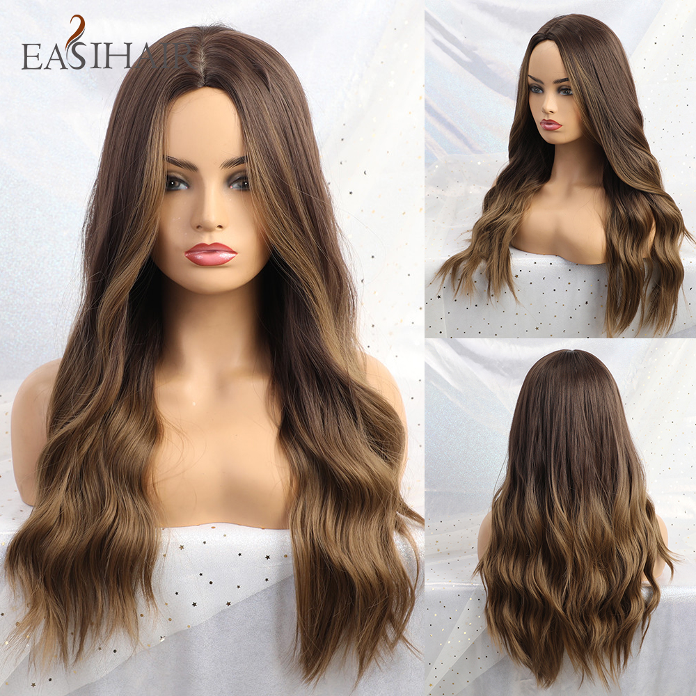 EASIHAIR Long Brown Ombre Wigs High Density Synthetic Wigs For Women Glueless Wavy Cosplay Wigs Heat Resistant Fake Hair Wig