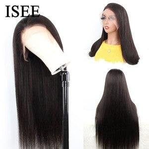 Image 3 - 250% плотные прямые передние человеческие волосы на сетке, парики для женщин, малайзийские прямые передние парики на сетке, прямые человеческие волосы ISEE
