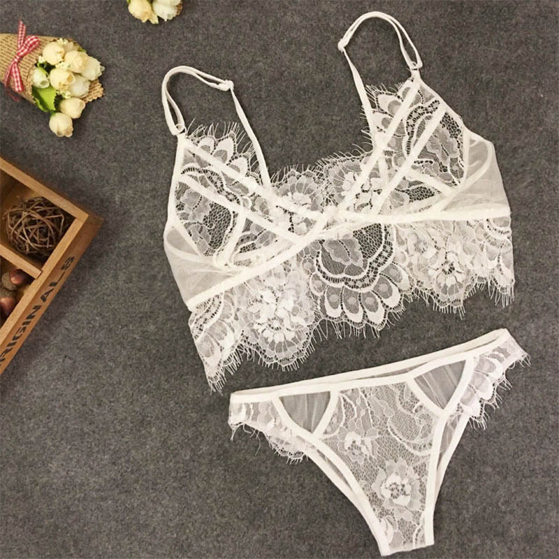 Lingerie Set Sexy Plus Size Hot Underwear Women Set Bra  Panty Thong Set Sexy Transparent Lingere Lace Black Open Intimates