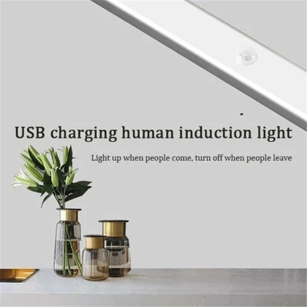LED Wireless PIR Auto Motion Sensor Infrared Night Light Cabinet Stair Lamp USB Charging FH5