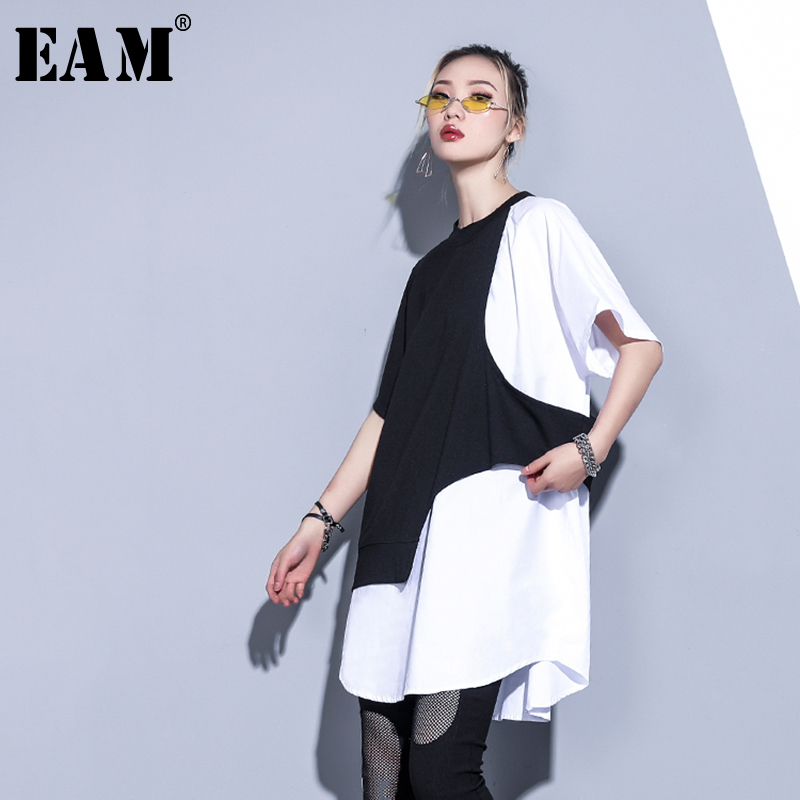 [EAM] Women White Contrast Color Split Big Size T-shirt New Round Neck Half Sleeve  Fashion Tide  Spring Summer 2020 1S883