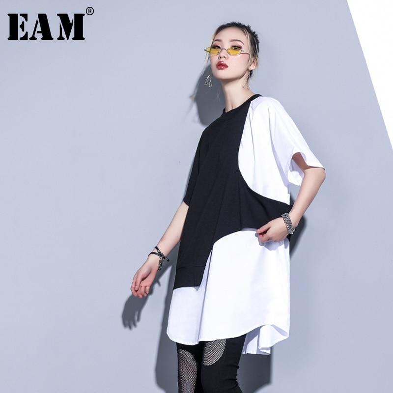 [EAM] Women White Contrast Color Split Big Size T-shirt New Round Neck Half Sleeve  Fashion Tide  Spring Summer 2020 1S883