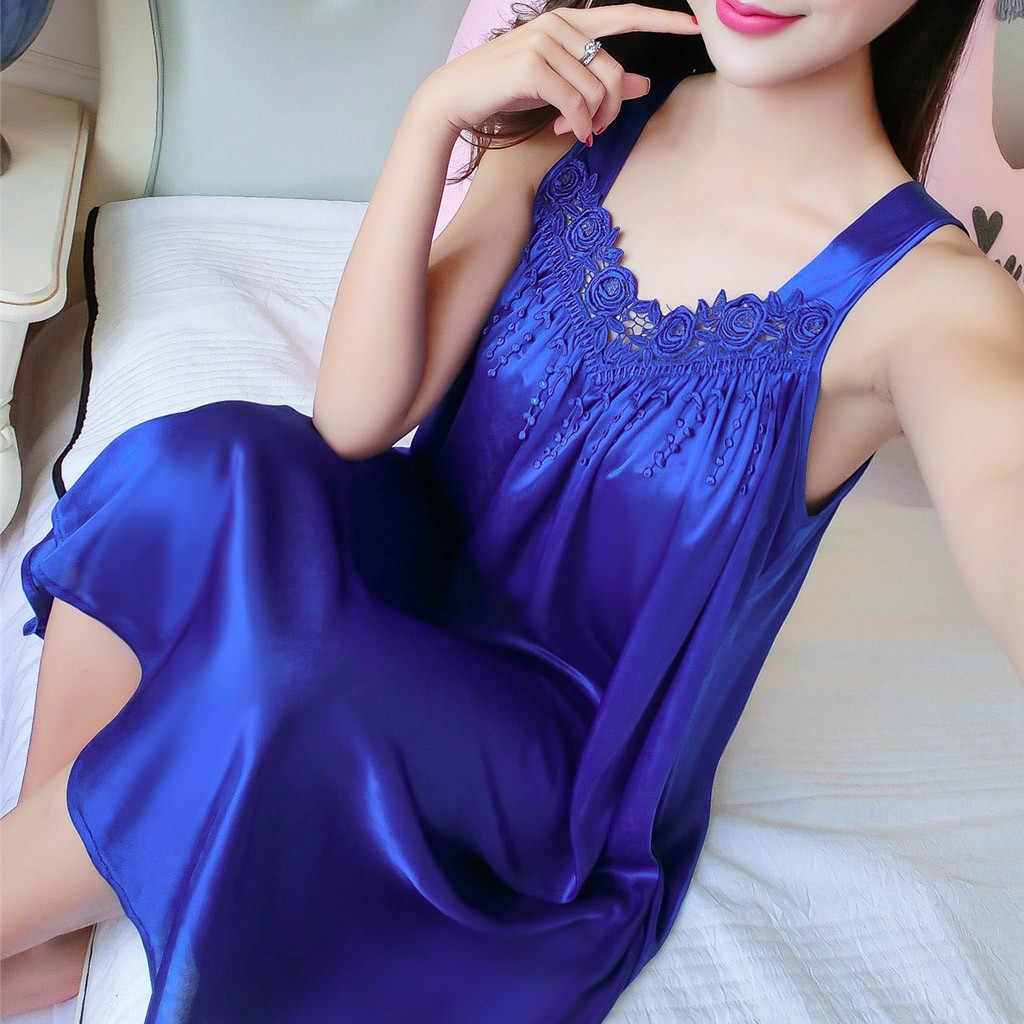 MIARHB Pyjamas Frauen frauen Sexy Nachthemd rundhals Lingerie Nachtwäsche Sexy Pyjamas Langes Nachtwäsche Lose Nachthemd Sommer