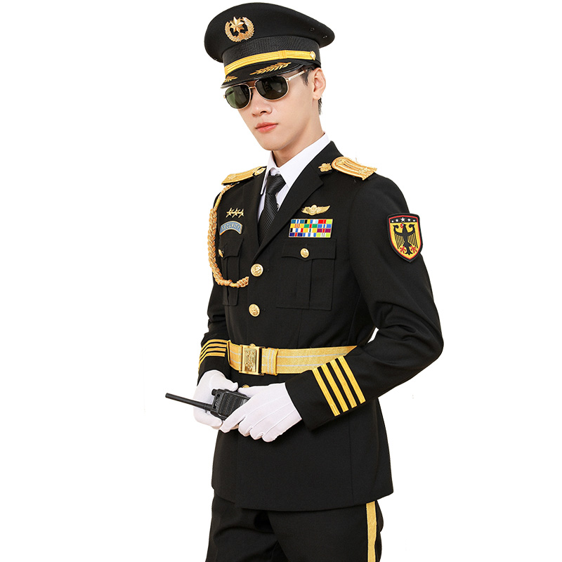 Men's Fashion Brand Luxurious Security Pilot Captain Uniform Suit Suits Black New Trend Style Military Costume Set With Gifts