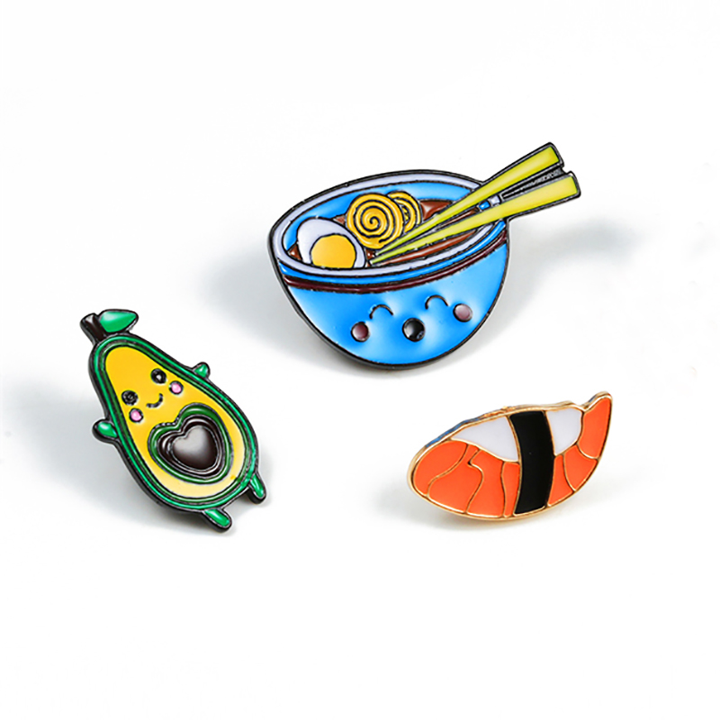 Cartoon Food Fruits Brooches Cute Avocado Sushi Japanese Ramen Enamel Pins Fashion Jewelry For Children Girls Denim Shirts Badge