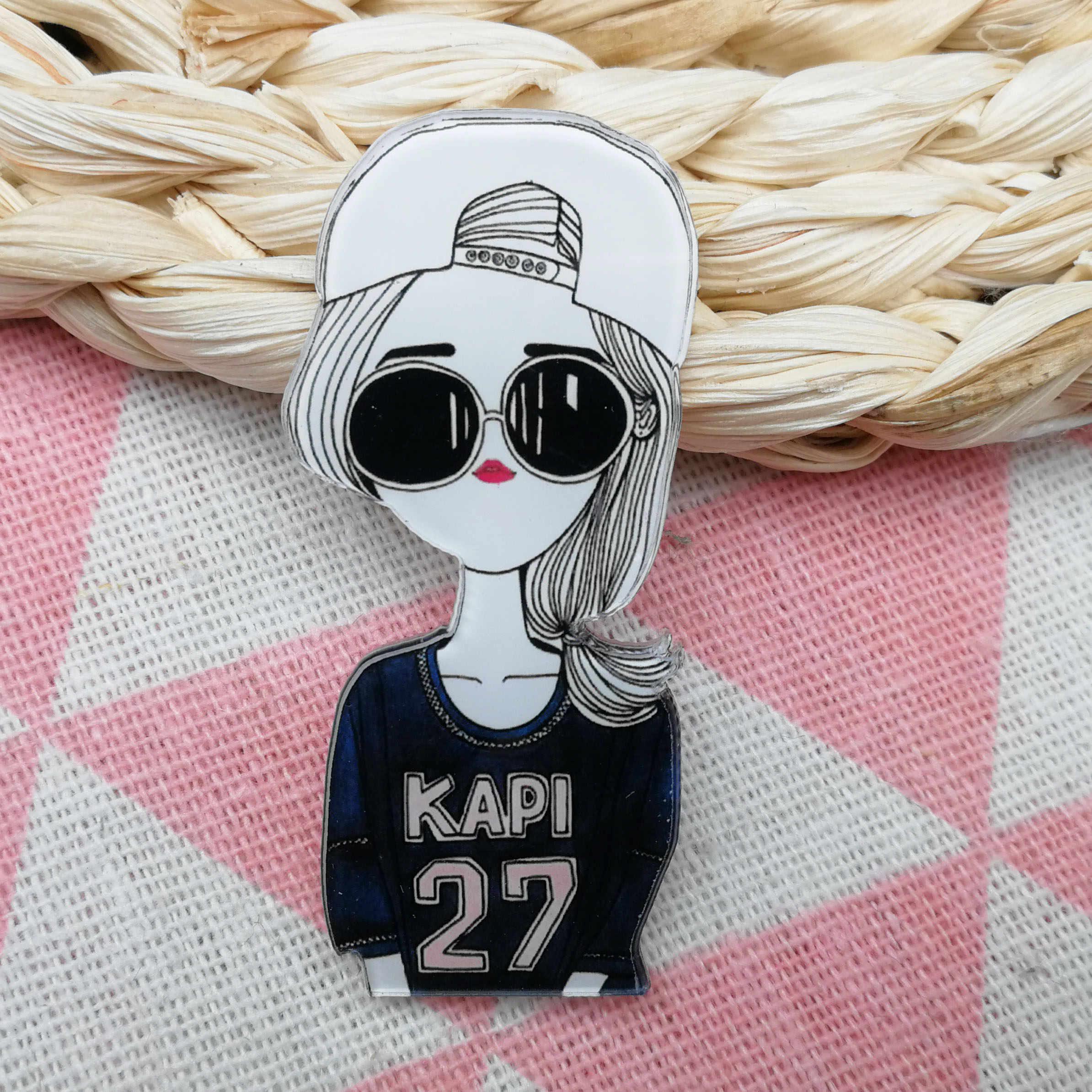 모델 레이디 아이콘 여성을위한 아름다움 아크릴 브로치 선물 고품질 배지 핀 티셔츠 모자 스카프 의류 쥬얼리 액세서리