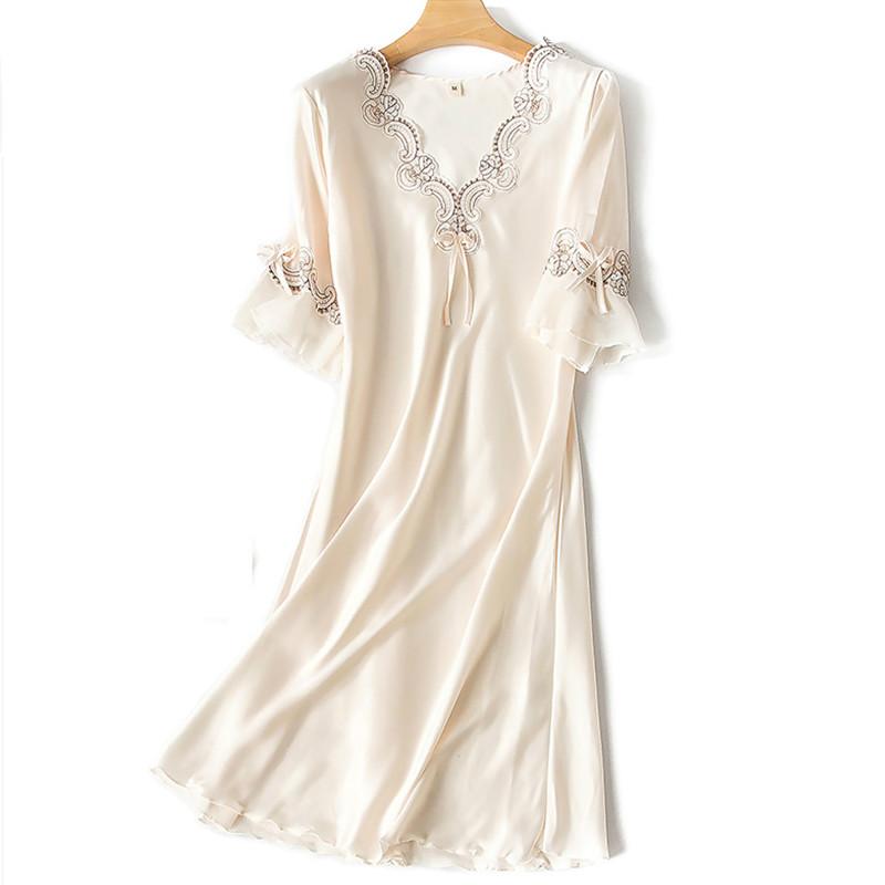 H3def1e4cc7d14347ae9fac70d66f8ed6x Sleep Wear V-neck Sleepdress Version Ice Silk Short Sleeve Lace Skirt Nighty Sexy Sleepwear Women Silk Lingerie Sleeping Dress