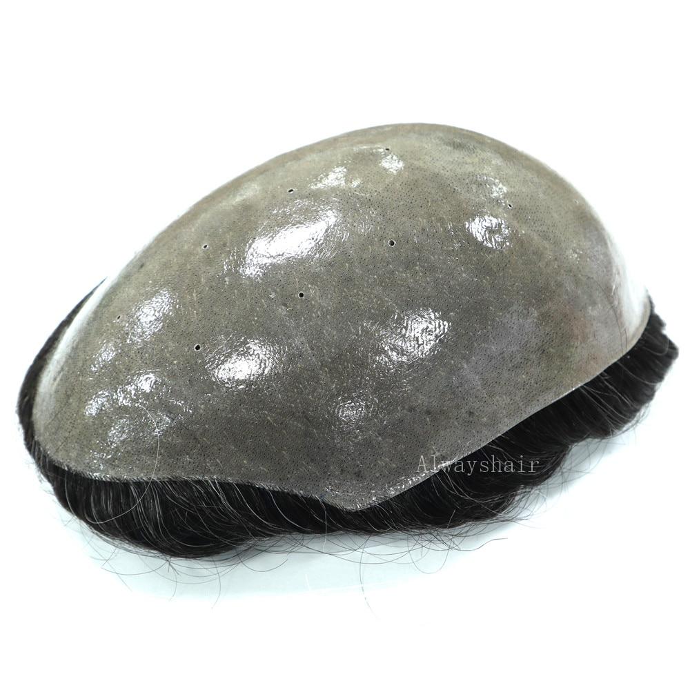 Men Toupee Hair-Replacement Human-Hair Natrural Wig Skin Indian Thin 6inch Free-Style