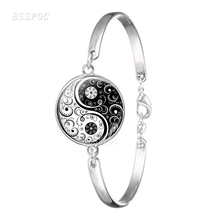 цена на Yin Yang Black and White Tai Chi Silver Bracelets Glass Cabochon Jewelry Bangles Yoga Lovers Gift