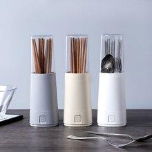 Soporte japonés para palillos, caja de almacenamiento de cubiertos con tapa, caja de vajilla, estante de drenaje de polvo, jaula para palillos, herramientas de secado de cocina