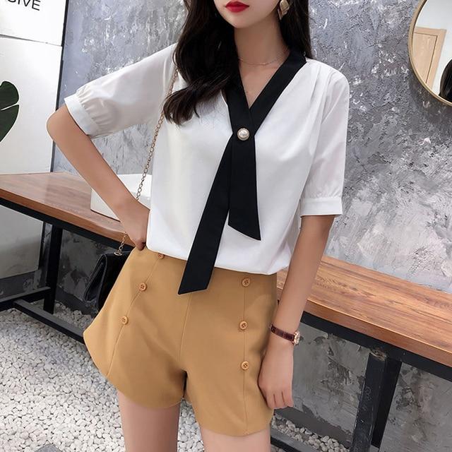 Women's Spring Summer Style Chiffon Blouse Shirt Women's Patchwork V-neck Short Sleeve Ruffles Elegant Temperament Tops DD8443 6