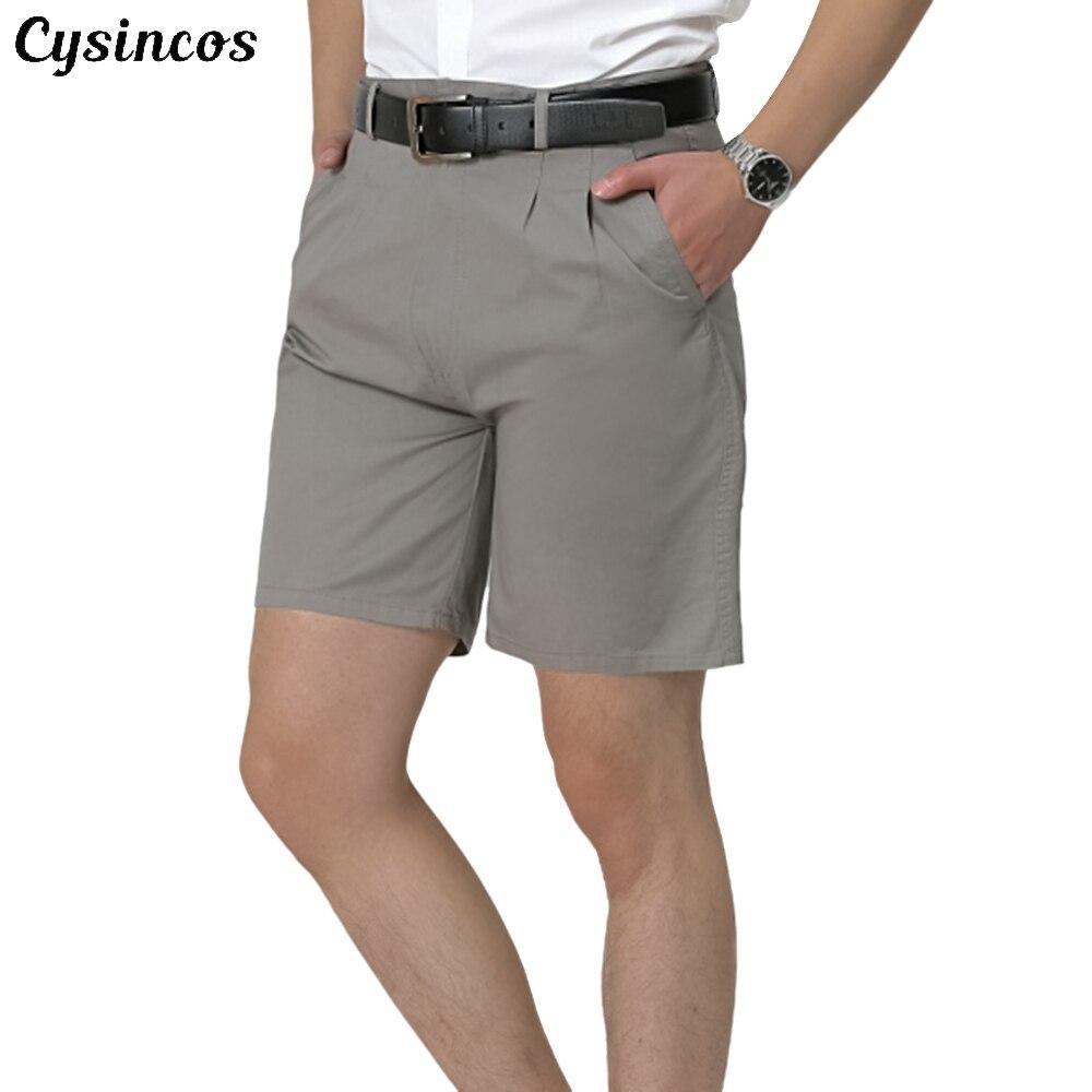 CYSINCOS 2019 Casual Summer Shorts Men Cotton Knee Length Chinos Shorts Vintage Men Shorts Fashion Masculina Large Size 44