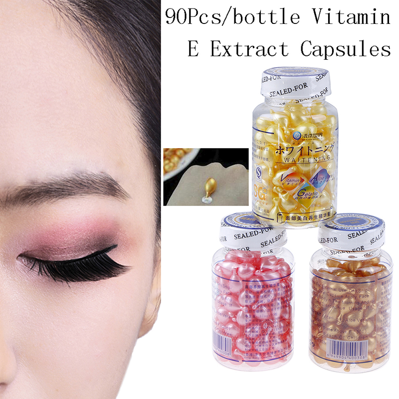 90pcs/bottle Ve Serum Face Freckle Capsule Gold/pink/yellow Vitamin E Extract Capsules Anti-wrinkle Whitening Cream