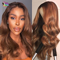 Body Wave 4x4 Closure Lace Human Hair Wigs Pre Plucked Brown Color Body Wave 13x1 T part lace wig Brazilian Remy hair For Women