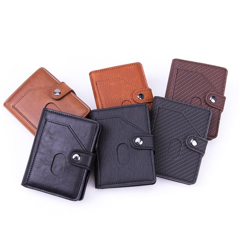 BISI GORO 2020 Pop-up Wallet Automatic Clutch Hasp Luxury Fashion Card Holder RFID Aluminum PU Leather Antitheft Business Purses