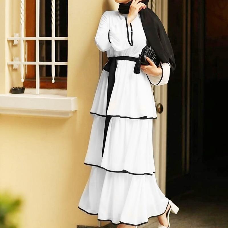 Kili Women Muslim Dress Arabic Ruffles Fashion Full Sleeve Casual Ladies Islamic Long Maxi Dresses 2