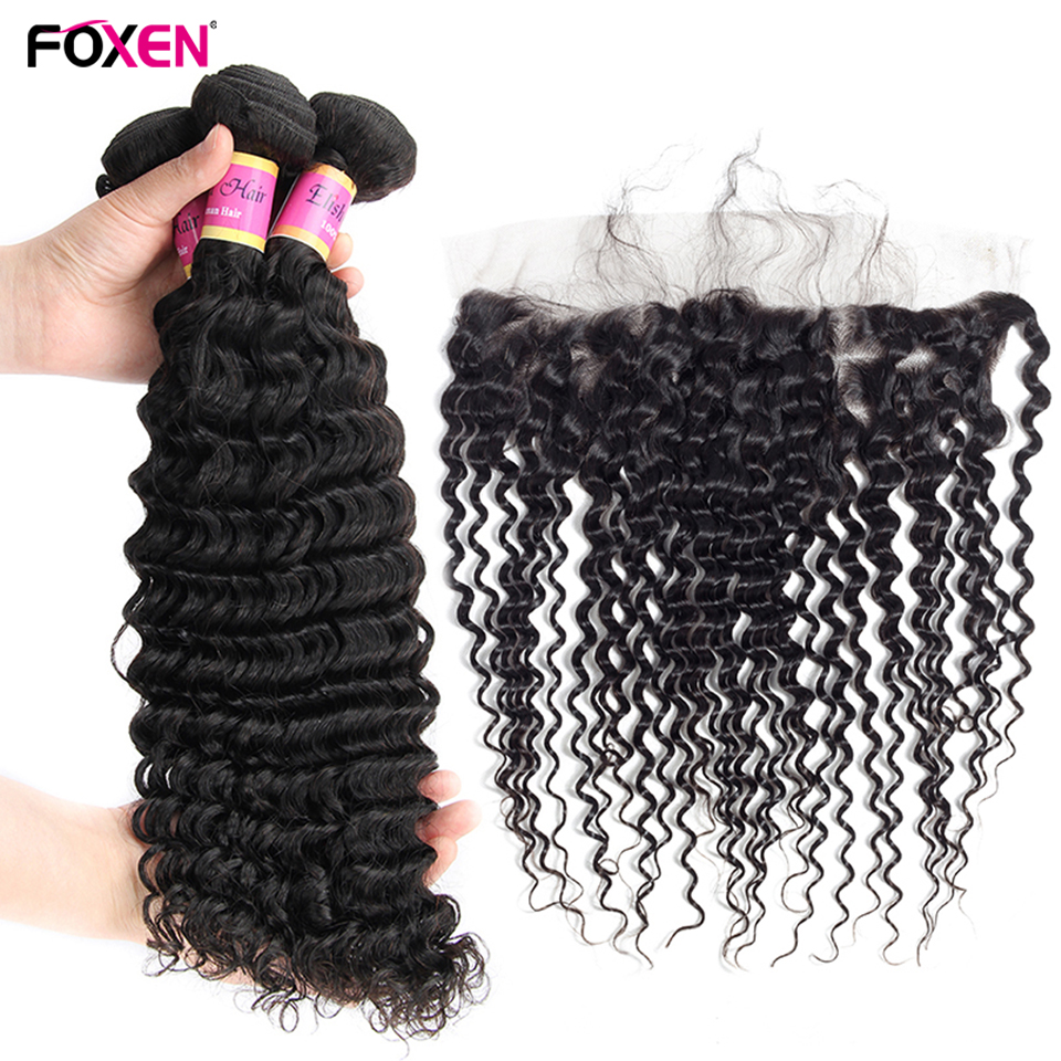 FOXEN Malaysian Hair Weave Bundles With Frontal Deep Curl Bundles With Closure 100% Human Hair Weaves With Frontal Ear To Ear