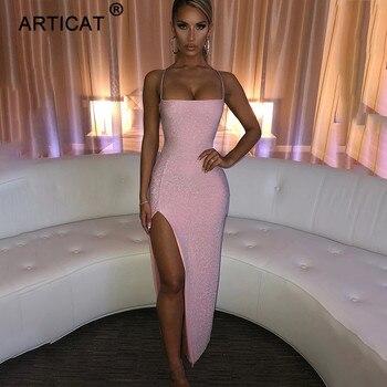 Articat Long Backless Maxi Dress Women Spaghetti Strap High Split Bodycon Bandage Summer Dress Elegant Slim Party Dress Vestidos 2