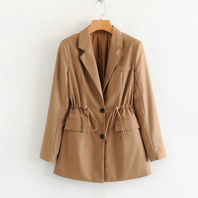 New Women Casual Blazers Office Work Ladies Jackets Elastic Waist Lace Up Suits Elegant Jackets Coats