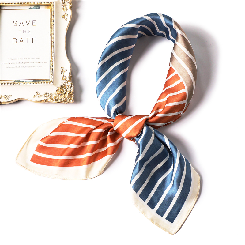 Women Silk Scarf Fashion Square Neckerchief Striped Print Foulard Hair Neck Scarves For Ladies Shawl