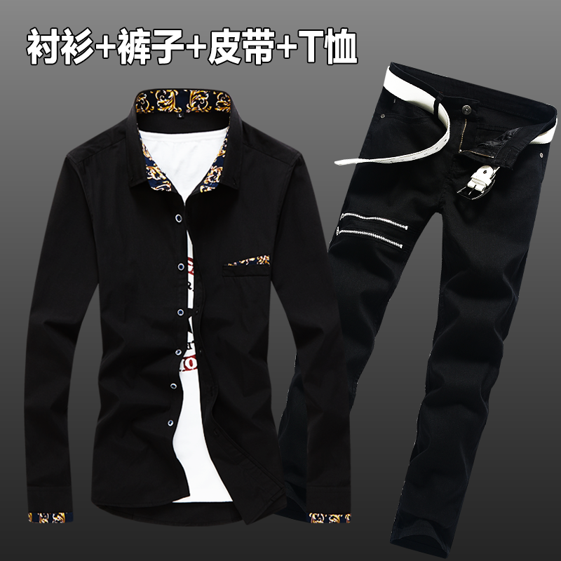 Spring Autumn Men's Long Sleeve Shirt Pencil Pants Jeans Slim Fit 2pcs Set Casual Shirts Trousers For Male Clothing N45