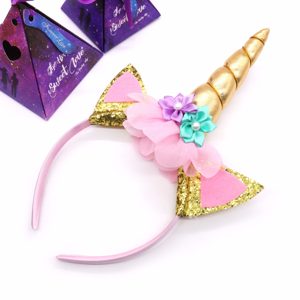 Gold/Silver 1PC Handmade Kids Gold Unicorn Headband Horn Glittery Beautiful Christmas Party Headwear Hairband Hair Accessories