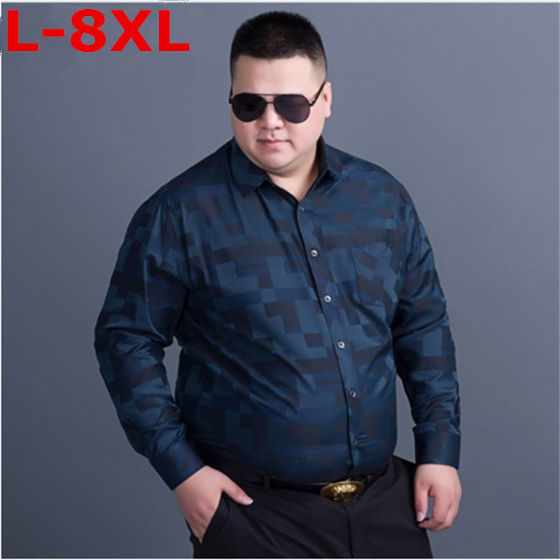 9XL 8XL 7XL Plus Size   Spring New Brand Business Men's Slim Fit Dress Shirt Male Long Sleeves Casual Shirt Camisa Masculina