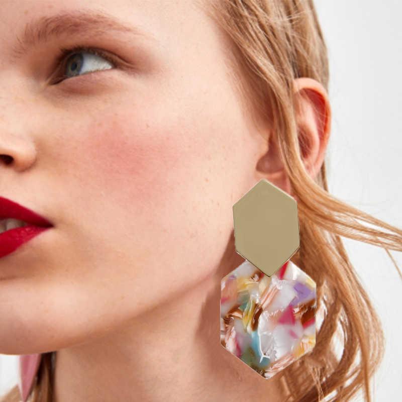 Sang trọng Tuyên Bố Thả Bông Tai Nữ Châu Âu Acrylic Đỏ/Xanh Dương Nhiều Màu 2019 Trang Sức Thời Trang Kim Loại Hình Học Bông Tai